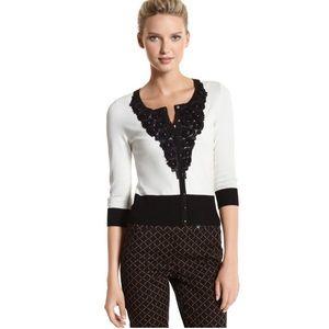 White House Black Market Chiffon Rose Sweater